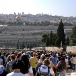 The Catholic Palm Sunday Procession in 2015, making its way down mount of Olives with the Old City and Temple Mount up ahead
