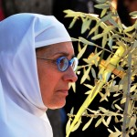 A nun in blue spectacles and white headdress holding an olive branch