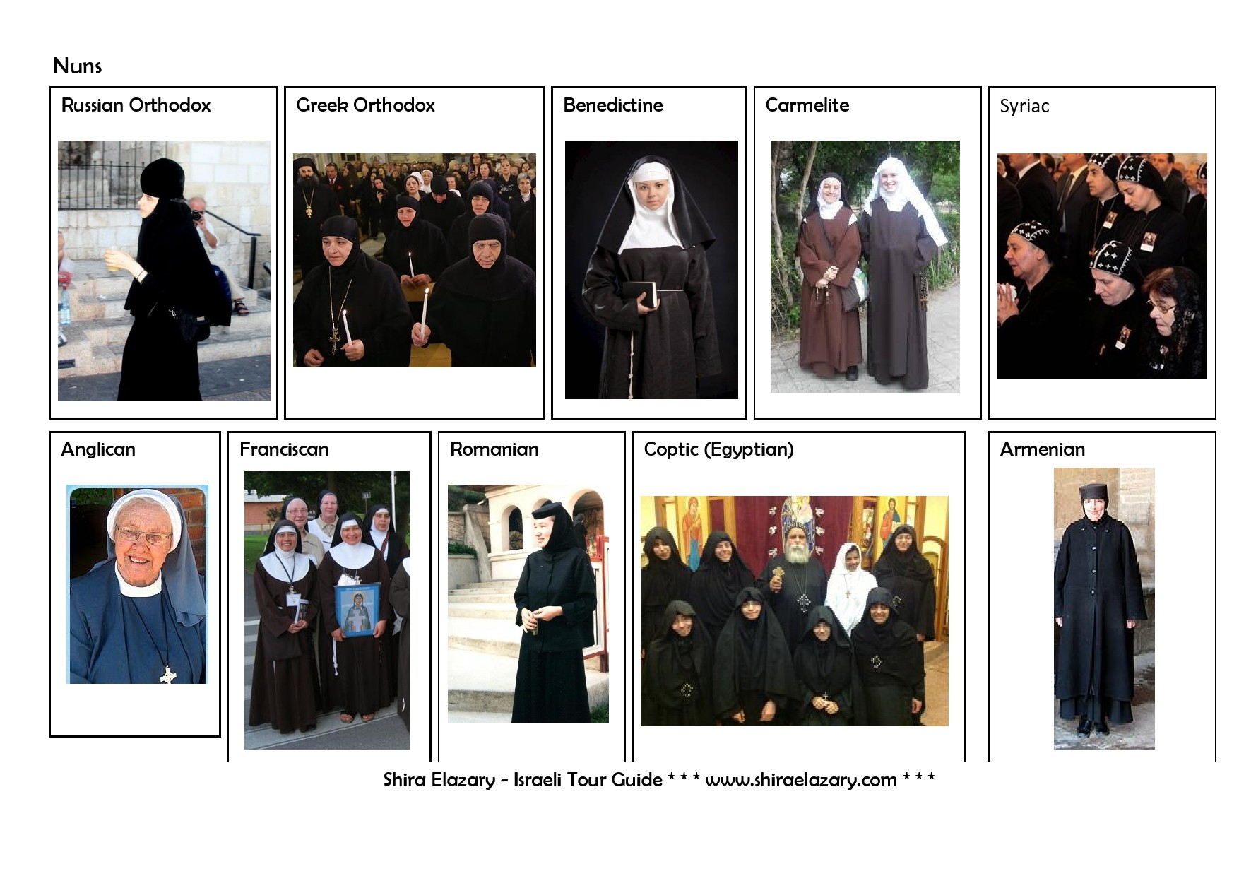 Images of nuns from different denominations, demonstrating their typical attire