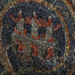 Mosaic of three people in a burning furnace on Calvary Hill, 11th Station of the Cross