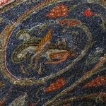 Mosaic of Prophet Jonah being devoured by a fish on Golgotha Hill, 11th Station of the Cross