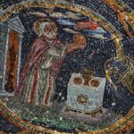 Mosaic of Melchizedek, king of Salem, offering bread and wine on Golgotha Hill, 11th Station of the Cross