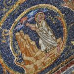 Mosaic of Moses receiving the commandments from God on Golgotha Hill, 11th Station of the Cross