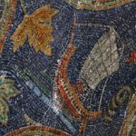 Mosaic of a sailboat on Calvary Hill, 11th Station of the Cross