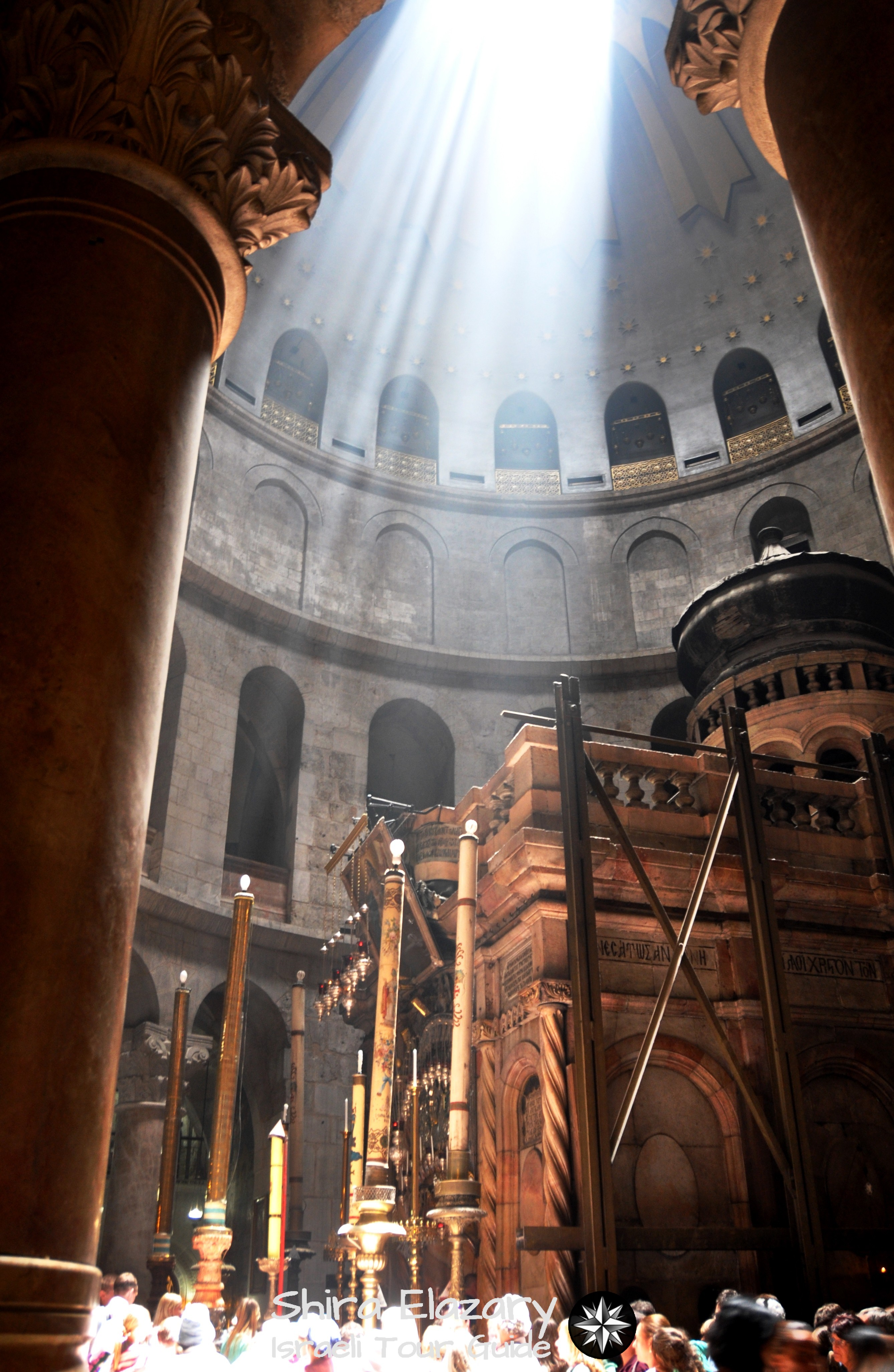 Inside the Church of the Holy Sepulcher with light coming in from above