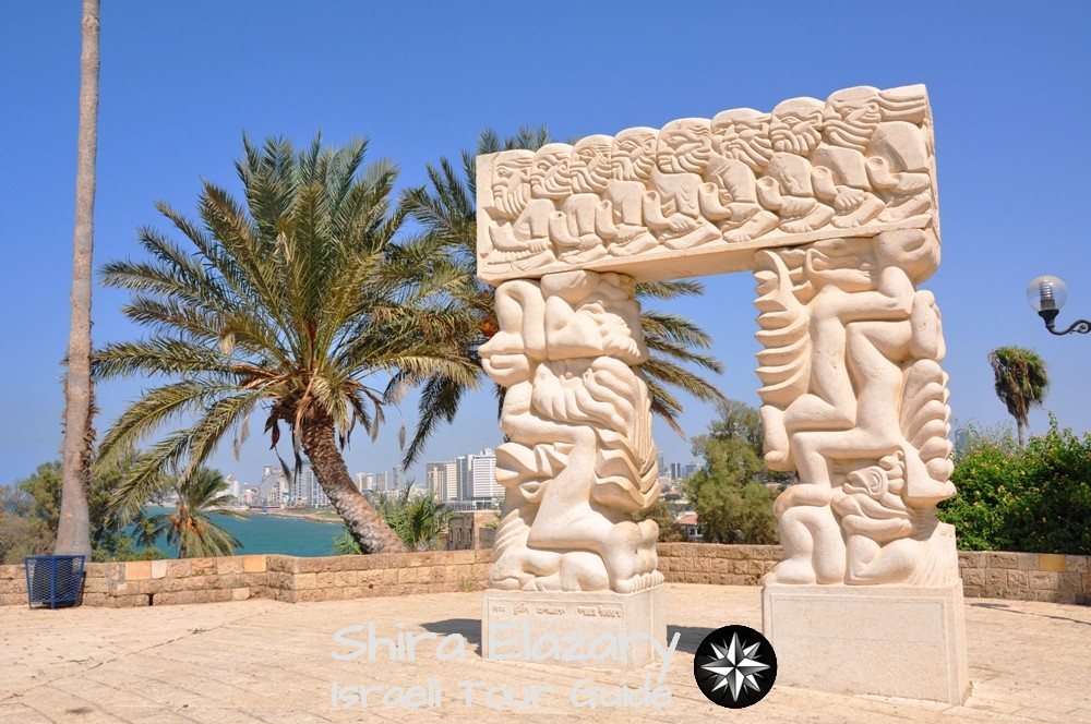 The white statue called the gate of promise at the top of Old Jaffa hill