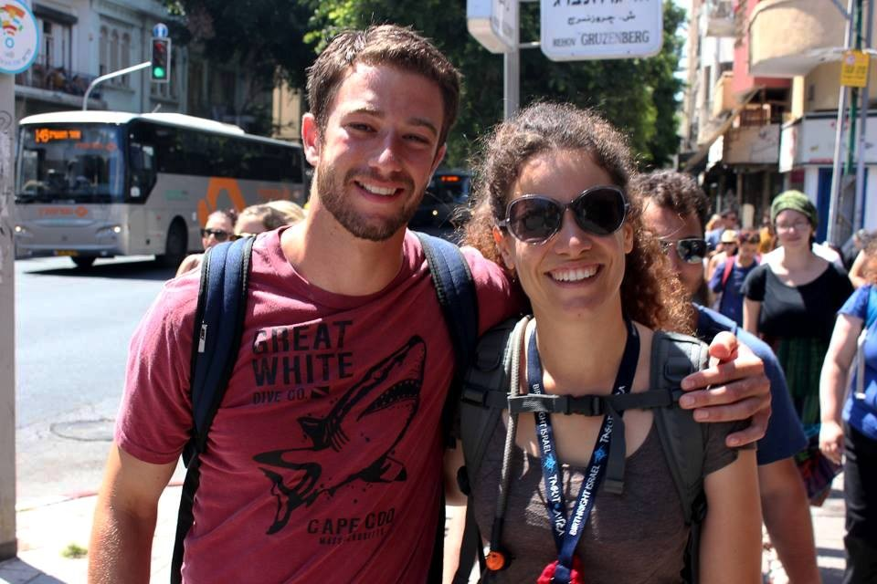 Walking down Allenbi street in Tel Aviv with Jake