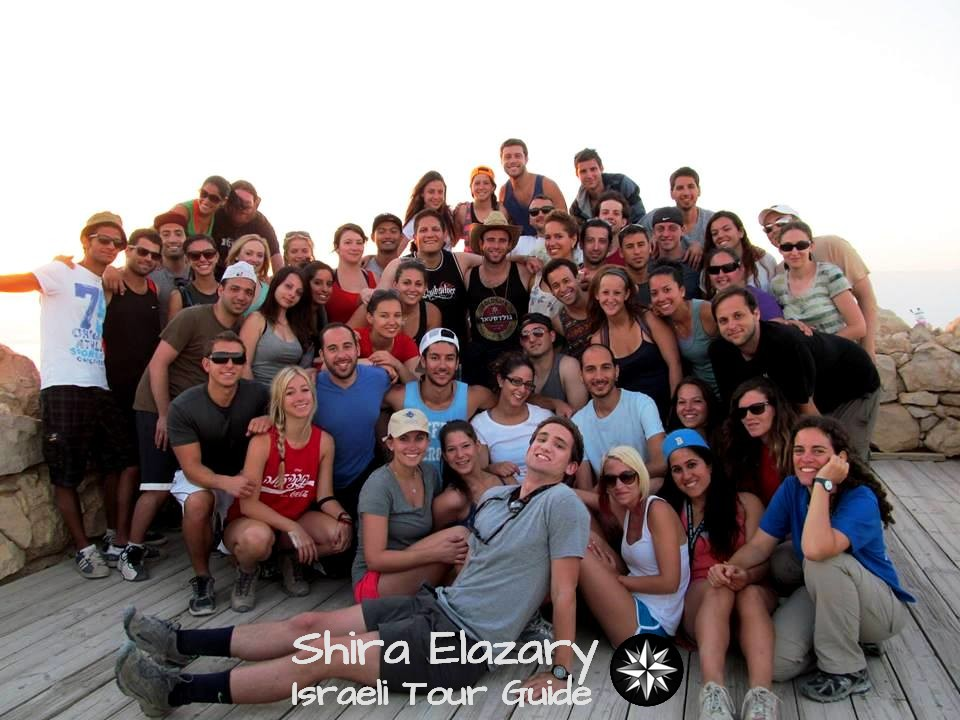 Group photo of myself and Rena Shlomo's Birthright trip on top of Messada