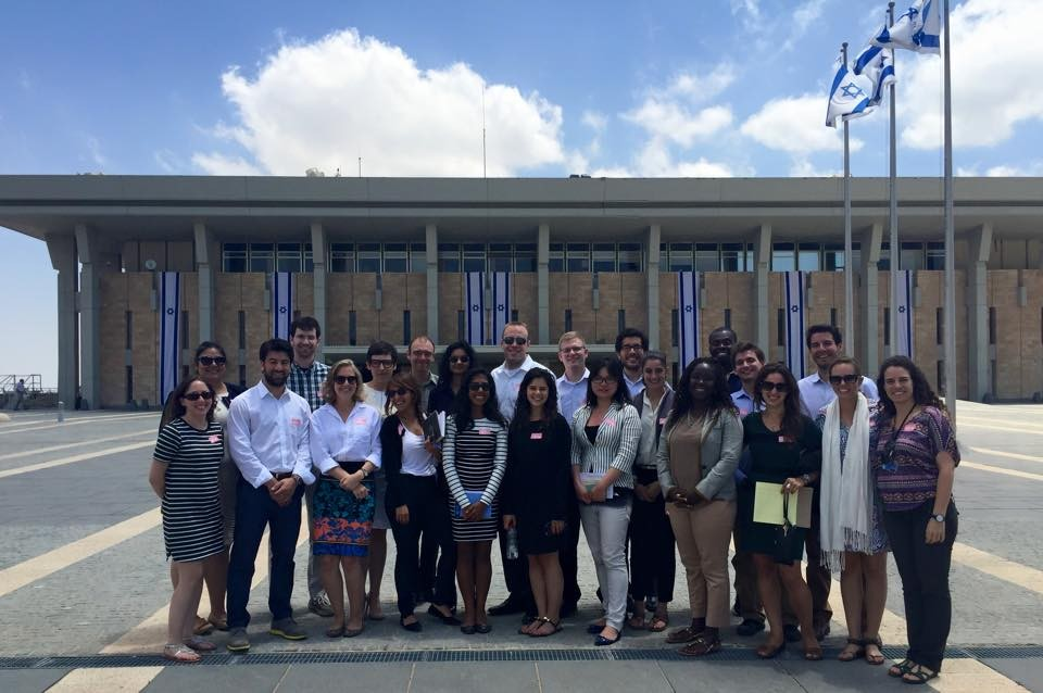 Posing in front of the Knesset with the law student delegation by the American Jewish Committee
