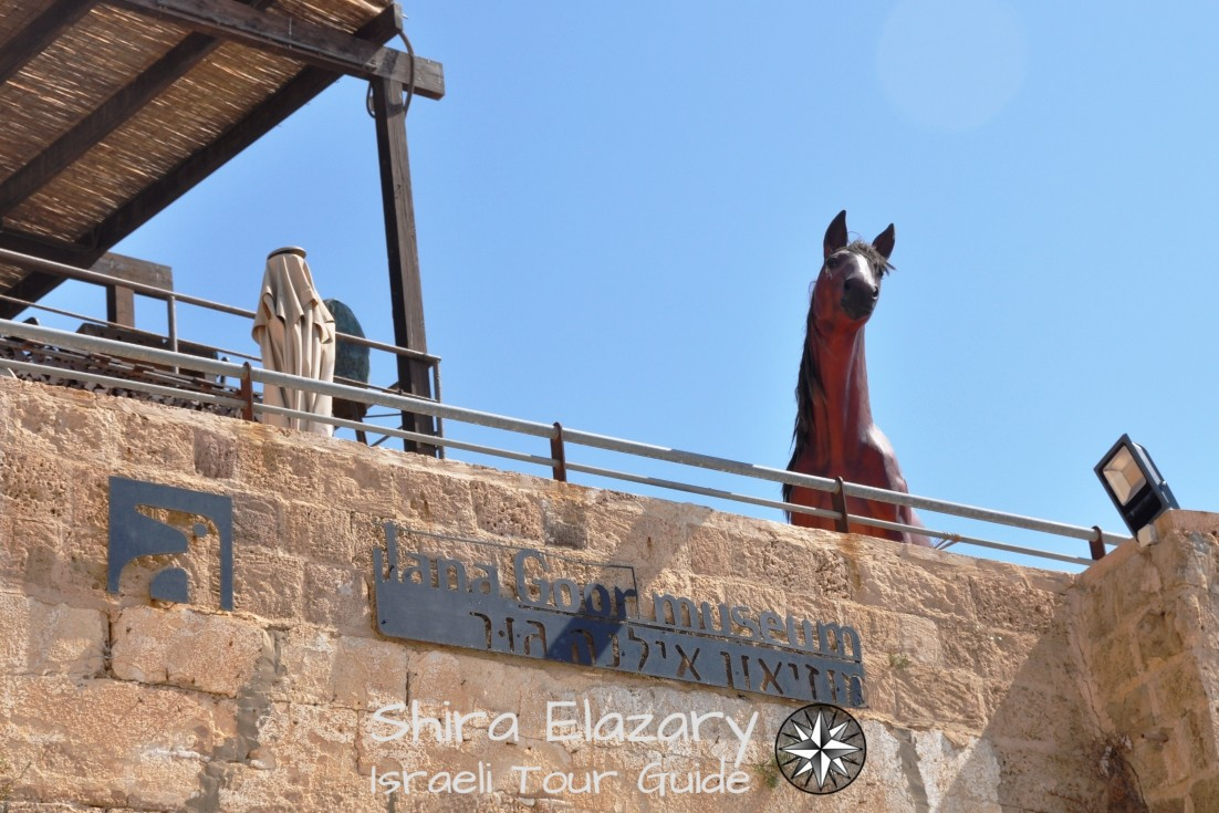 The top of Ilana Gur Museum, with its sign and a plastic horse on the roof