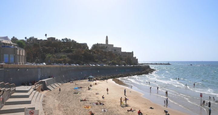 A view of Old Jaffa and its beach from the self guided jaffa walking tour