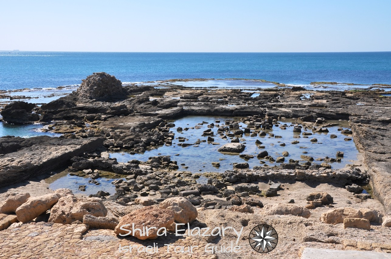 Remains of Herod's palace in Caesarea along a coastal area private tour