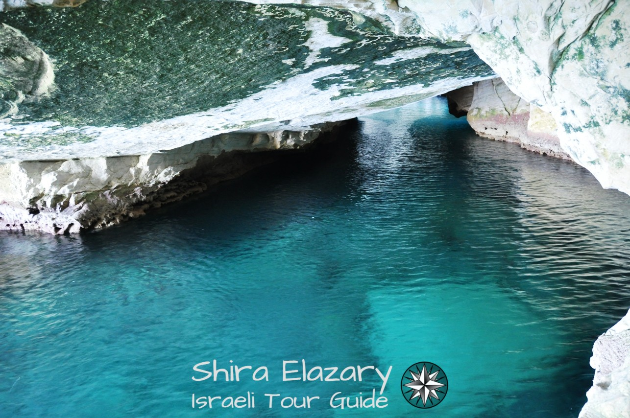 Turquoise water in a sea grotto at Rosh Hanikra